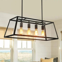 Retro Rustic Wrought Iron Black Chandelier Light Rectangle Loft Pendentif Lampe Vintage Industrial Glass Box Pendentif Light Salle à manger Bar Lamp