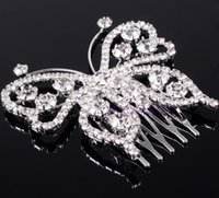 Wholesale Wholesale Hair Jewerly Accessories - 2Pcs Silver Butterfly Crystal Hair Combs Weding Bridal Party Hair Accessories Wedding Jewerly 2016 Discount Style Children's Day