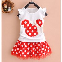 Wholesale Summer Baby Skirt Top - Baby & Kids Clothing Clothing Sets 2PCS Minnie Mouse Girl Cotton Top T-Shirt+Skirt Polka Dot Dress Outfit Clothes Set Outfit Suitable