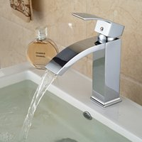 Wholesale Square Vessel Faucet - Wholesale- Free Shipping Wholesale And Retail Chrome Brass Waterfall Bathroom Basin Faucet Square Vessel Sink Mixer Tap Deck Mounted