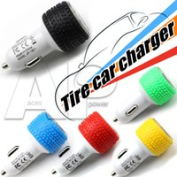 Wholesale Tyre Branding - Tire Car Chargers Two USB Ports Tyre Charging For Iphone7 Xiaomi Android Lenovo Samsung Galaxy S7 Charger No Package