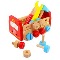Wholesale Toy Tool Set Screws - Baby Toys Wooden Tool Set Nut Combination Screw Wooden Toys Learning Education Gift Free Shipping