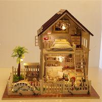 el yapımı model ev toptan satış-Toptan Satış - Toptan-DIY Cottage Paris Daire El Yapımı Doğum Günü Hediyesi Monte Oyuncaklar Yaratıcı Ev Model Villa DIY Doll House