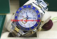 Wholesale ii tone - MINT II 44mm Two-Tone Gold White Ceramic 116681 Watch Automatic Blue Luminescent Dial Men Watches Top Quality Luxury Wristwatch
