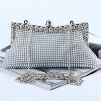 Wholesale banquet bags - Factory Retaill Wholesale brand new handmade pretty aluminum sheet evening bag clutch with satin for wedding banquet party porm(More Colors)