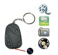Wholesale Security Car Cameras Recorders - 2pcs HD 720P Mini Car Key Chain DVR Spy Hidden Camera HD Video Recorder Mini KeyChain Portable Candid Camera Surveillance&Security Camcorde