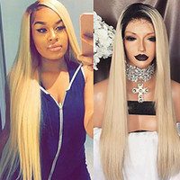 Wholesale 1b 613 front wig online - Fast Shipping b Ombre Blonde Silky Straight Synthetic Wigs Heat Resistant Glueless Synthetic Lace Front Wigs for Black Women
