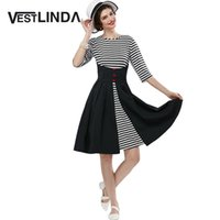 Wholesale Club Stripper Dress - Wholesale- VESTLINDA Vintage Dress Black White Stripper Dress Women O Neck 3 4 Sleeve A Line Mid Calf Long Dress Vestido De Festa Plus Size