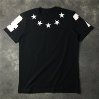 Wholesale Man Famous T Shirt - Wholesale-2016 High Quality new fashion Black embroidery star famous luxury brand giv tee t shirts for men women cotton free shipping
