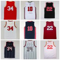 Wholesale Usa Sports Wear - #34 Men Basketball Jerseys Throwback 1992 USA Dream Team Shirt #22 Classical Sport Wear Camiseta de baloncesto With Player Name Team Logo