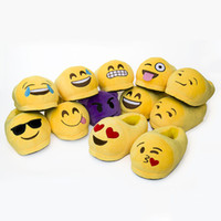 Wholesale Wholesale Indoor House Slippers - Emoji Slippers Cartoon Plush Slipper Home Men Women Slippers Winter House Shoes Yellow Cartoon Cotton Shoes