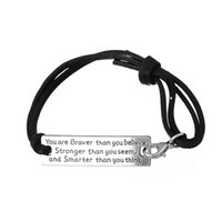 Wholesale Inspirational Charms - High Quality You Are Braver Than You Believe Charm Inspirational Leather Bracelet Jewelry