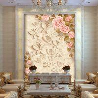 nuevo fondo de pantalla de europa al por mayor-Europa Rose flores foto wallpaper Custom 3D Wallpaper Elegant Wall Murals Dormitorio de los niños Nursery Bar Living room decor 2016 New Art design