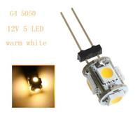 Wholesale Replace Car Light Bulb - G4 5050 SMD 5 LED White   Warm White white Replace halogen lamp 360 Beam Angle LED Bulb lamp DC 12V LED Light Home Car RV