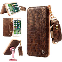 Wholesale Iphone Flip Strap - For Samsung S8 plus Magnetic Flip Leather & TPU Mirror Cases Floral Embossment Card Holder Neck Strap Cover For iphone 7 6s plus