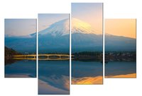 Wholesale Lake Picture Frame - YIJIAHE Landscape Print Canvas Painting lake 4 Piece Canvas Art Wall Pictures For Living Room Large Wall Art FJ292