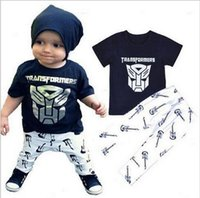 Wholesale Summer Outfits For Men - Boys Clothes Sets 2016 New Summer Boys Iron man T-Shirt + Print Pants 2 piece for Boys Outfits MK-340