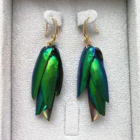 Wholesale Beetle Wings - Imported natural beetle wings, green retro handmade tassels, earrings, national wind, bronze ear hook, hand woven