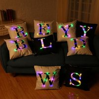 Barato Luz Decorativa Xmas-Letter Pillow Case Led Light Luminous Sofa Car Pillow Covers Travesseiro Xmas Home Party Cushion Decorative YW89