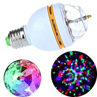 Wholesale 110V V AC Sound activated E27 W RGB LED Stage Magic Light Bulb Full Color Rotating Lamp Home Disco Party KTV Bar