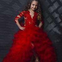 bebek kızı elbise kırmızı toptan satış-Kırmızı Uzun Kollu Aplike Katlı Bebek Kız Doğum Günü Partisi Noel Çocuk Kız Pageant Gençler için Elbiseler Çiçek Kız Elbiseler