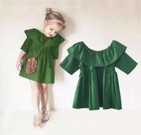 Wholesale Lemon Green Party Dresses - 2016 Baby Girls Dresses Summer spring girls clothes Europe and America Belt Girls Dress 00% cotton Princess Dress Party dresses