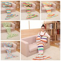 Wholesale Live Corals Wholesale - 16 Colors Mermaid Blankets Coral Fleece Sleeping Bag Mermaid Tail Blanket Nap Plaid Blankets Bedding Living Room Blankets CCA7340 60pcs