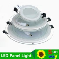Wholesale Hotel Panel - 6W 12W 18W LED Panel Downlight Round Glass Panel Lights Ceiling Recessed Lamps For Home Hotel Lighting AC110V AC220V Free Ship