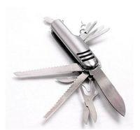 ingrosso coltelli svizzeri di trasporto libero-Coltello svizzero d'argento portatile 11-in-1 Coltello da tasca pieghevole multifunzionale di sopravvivenza di sopravvivenza dell'attrezzatura esterna libera il trasporto