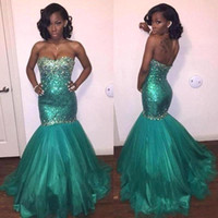 Wholesale Turquoise Sweetheart Trumpet Prom Dresses - Turquoise Mermaid Prom Dresses Sexy Black Girls Formal Evening Gowns Strapless with Rhinestones Court Train Red Carpet Gowns Custom BA2546