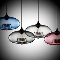 Wholesale Pendant Lights Contemporary - New Simple Modern Contemporary Hanging 6 Color Glass Ball Pendant Lamp Lights Fixtures e27 e26 For Kitchen Restaurant Cafe Bar