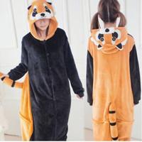 Wholesale Racoon Adult Costume - Cute Racoon Kigurumi Pajamas Animal Suits Cosplay Outfit Halloween Costume Adult Garment Cartoon Jumpsuits Unisex Animal Sleepwear