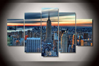 Wholesale Hd Cities - 5 Piece HD Printed new york city Painting on canvas room decoration print poster picture canvas modern abstract oil painting