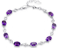 Wholesale Silver Articles Wholesale - Critical hit 925 sterling silver female natural amethyst han edition Europe and the United States first big necklace bracelet adorn article