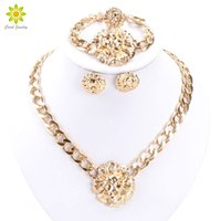 Wholesale Lionhead Necklaces - Accessories Wedding African Beads Jewelry Set Gold Silver Plated Vintage Earring Bracelet Necklace Ring Fashion Lionhead