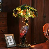 Wholesale Classical Study Table - Luxury Complex Classical Tiffany Desk Book Light European-style Tiffany Table Lamp Queen crane American decorative LED lamp