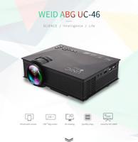 Wholesale Led Projectors Screens - 10PCS UC46 Projector 1200LM 3D LED wifi Projector Support 800 x 480 DLNA AV USB HDMI VGA SD Mini Home Video Proyector Screen TV Beamer