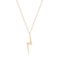 Wholesale girls big gold pendant online - 10pcs Natural Big Lightning Bolt Charm Necklace Pendant Collares Fashion Jewelry Gift Necklace for Girls and Women