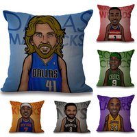 Wholesale Basketball Sofa - 45*45cm Personality Basketball Star Pillow Case Cotton Linen Square Cushion Sofa Car Livingroom Bedroom Pillow Covers 7 Style WX-P22