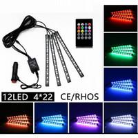 dekoratif şeritler toptan satış-22 cm Renkli müzik + uzaktan kumanda Esnek Araba LED Şerit Işıklar İç Dekoratif Atmosfer Neon Lamba LED Kablosuz Uzaktan işık