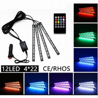 Wholesale Multicolor Led Lighting Strips - 22cm Multicolor music+remote control Flexible Car LED Strip Lights Interior Decorative Atmosphere Neon Lamp LED Wireless Remote light
