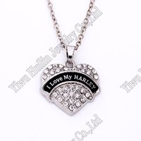 Wholesale Crystal Studded - New Arrival Hot Selling rhodium plated zinc studded with sparkling crystals I LOVE MY HARLEY heart pendant wheat link chain necklace