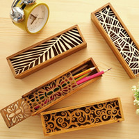 Wholesale wooden pencil cases - Creative Stationery Wood Lace Hollow Wooden Pencil Case Pencil Box Students Office School Supplies Fashion Gifts Prize