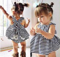 ingrosso neonata si abita blu-Ins Hot Sell Baby Abbigliamento per bambini Adorabili Vestiti per le ragazze Principessa Bianco Blu Dress + PP Padelle 2pz Set Babies Top Pantaloni Outfits Lovely 9453