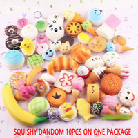 Wholesale Squishy Phone Charms - 2017 10pcs lot squishies toy Slow Rising Squishy Rainbow sweetmeats ice cream cake bread Strawberry Bread Charm Phone Straps Soft Fruit Toys