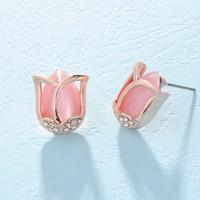 Wholesale Cats Eye Gold Earrings - Fashion Rose Gold-color Flower Stud Earrings of Pink Beige Cat Eye Opal Stone For Women Elegant Tulip Earrings