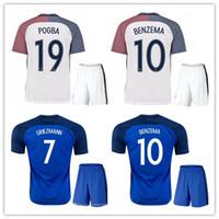 Soccer Short Polyester top quality 2016 Euro Cup Soccer Jersey kits France  camisetas de futbol 2017 c9b4edd57
