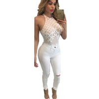 Wholesale Club Outfit For Women - White Club Outfits Lace Mesh Bodysuit Stylish Round Neck Embroidery Sleeveless Romper For Women Body Kendra Suit Women Jumpsuit