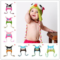 Wholesale owl earflap crochet hat baby for sale - Group buy Toddler Owl Crochet cap Knit Woolly EarFlap Hat Baby winter warm Cartoon crochet Hat childrens handmade owl Knitted hats infant beanie