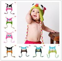 Wholesale owl crochet infant hat for sale - Group buy Toddler Owl Crochet cap Knit Woolly EarFlap Hat Baby winter warm Cartoon crochet Hat childrens handmade owl Knitted hats infant beanie
